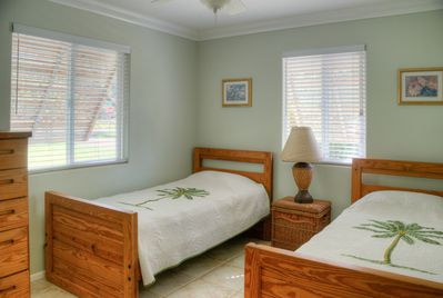 2 twin beds in2nd room. Can be pushed together to make a king Bed