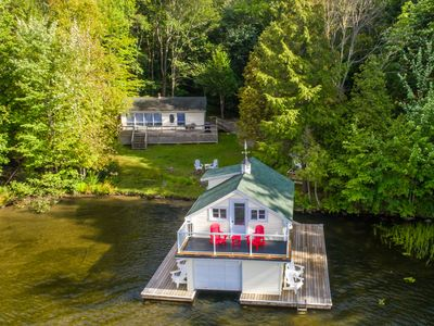 Photo for Fly By Rosseau~Sunset view Cottage, boathouse + bunkies on Lake Rosseau