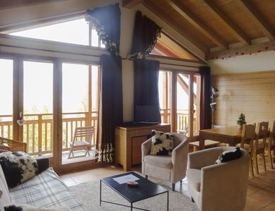 Photo for Luxury Chalet Apartment with stunning views of Mont Blanc in center of Paradiski