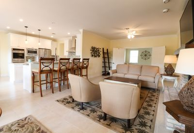 Kitchen and family provide plenty of gathering space