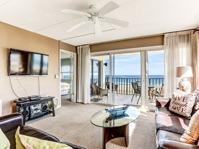 Photo for 4th Floor 2 Bed/2 Bath Oceanfront/Corner condo sleeps 6, renovated.  Oceanfront balcony & pool.