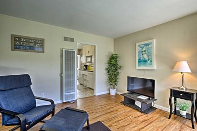 Hardwood floors and natural light feature in the 1-bedroom 1-bath interior.