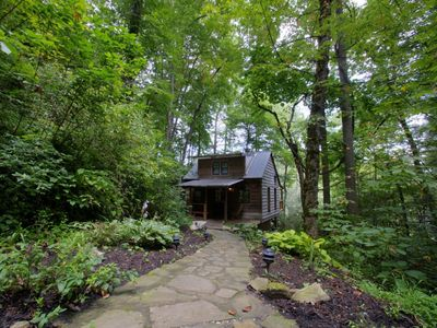 Photo for The best romantic cabin in Asheville! Private river access, hot tub on deck, pet-friendly. Includes a Biltmore ticket!