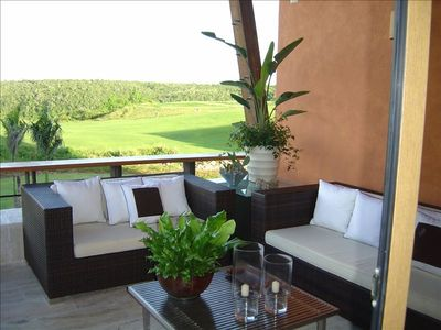 Expansive Patio with Dye Fore golf course view