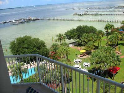View from our main level porch facing left of the beautiful bay and marina.