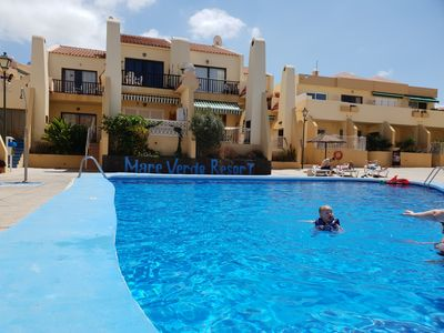 Photo for Apartment Mareverde with sea view, heated pool, balcony, only 300 m to the beach