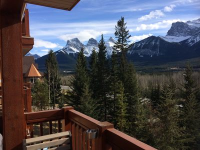 The view of the majestic Three Sisters Mountains from the balcony.