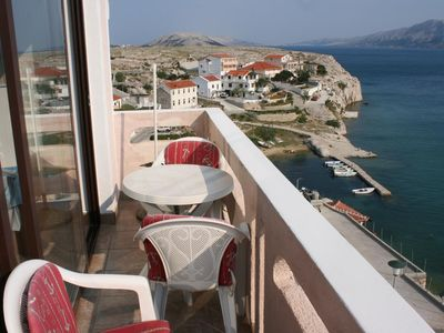Photo for Two bedroom apartment with balcony and sea view Zubovići, Pag (A-6387-b)