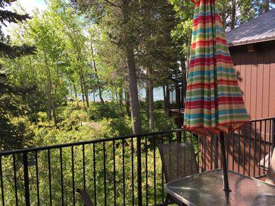 View of lake from deck with new barbeque