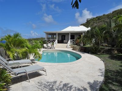 Photo for Hidden Gem , Villa with heated pool, stunning sea views, sleeps 6.   3,500 sq ft