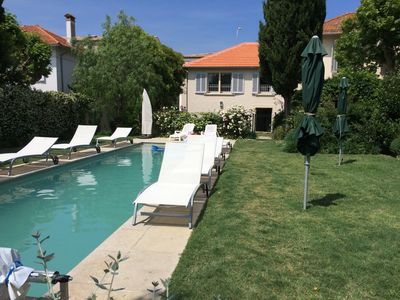 Photo for In St Tropez village center, beautiful house heated pool gd garden parking