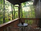 Outdoor seating with forest views