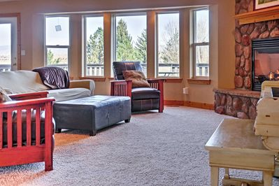 Kick back and relax on the comfy couches in the living area.
