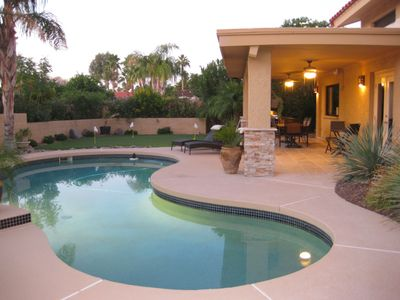 Pool, Putting Green and and Beautiful Covered Outdoor Patio with Travertine Tile