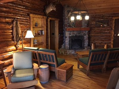 Photo for Charming, Vintage Log Cabin with Incredible Lake Views; includes a Kayak & Canoe