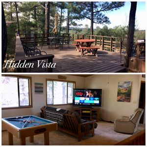 HIDDEN VISTA: Distance views from private oversized deck nestled in cool pines.