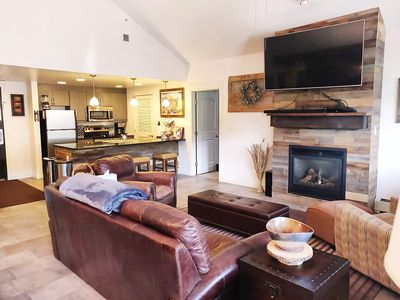 The Living Room: Your group can gather here in front of the gas fireplace