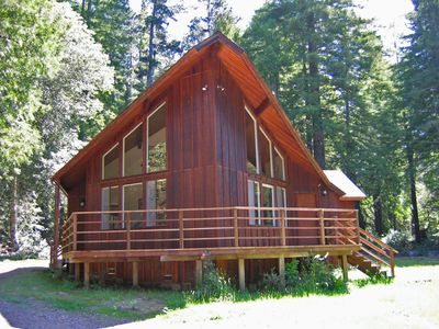 Photo for Private Mendocino home sits on16- acres/ Redwood Forest  w/Jacuzzi. Sleeps 6-8.