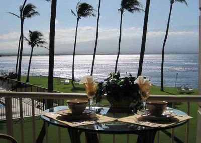 Our bar-height lanai chairs remove the railing from the view of Maalaea Bay.