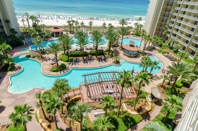 Shores of Panama has a huge beachfront pool complex with a zero entry area, dolphin fountains, a mega hot tub, a tiki bar and snack bar.  Fun for everyone!