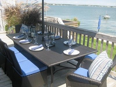 High Quality Waterside Entertaining Table For 8 With Umbrella, Weber Grill, And Endless  Views