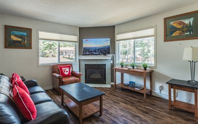 Photo for Mountain View Cozy 2-Storey Chalet, 2 BR , 1.5 BTH, Hot Tub, BBQ, Free Park Pass