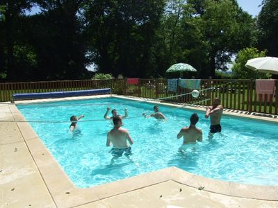 A game of volley ball in the pool