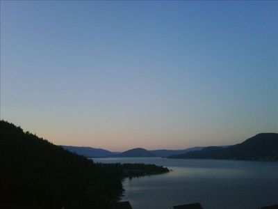 An evening view from our deck. Relax day or night.