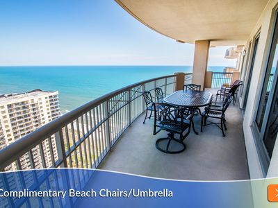 Photo for Complimentary Beach Umbrella & Chairs Included. Balcony Access from Every Bedroom!