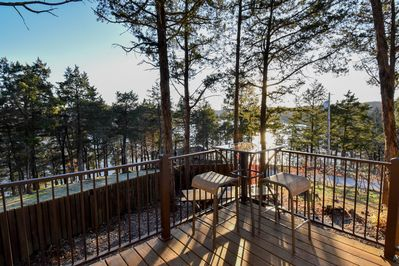 Outside deck and view of the Lake