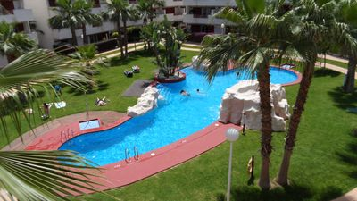 Photo for Lovely sunny well equipped 2 bedroom apartment overlooking pool, wi fi included