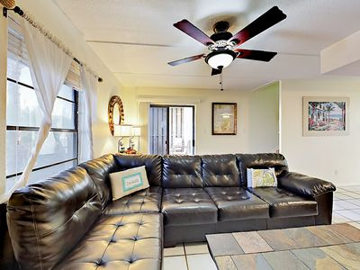 Living Area - Welcome to South Padre Island! Stretch out on the large sectional sofa.