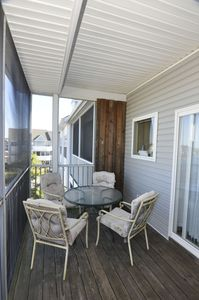 The back deck is a perfect place to have morning coffee or enjoy a quite book