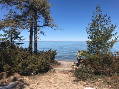 Photo for Cheboygan Vacation Rental: Beach Front Cottage on the Straits of Mackinaw