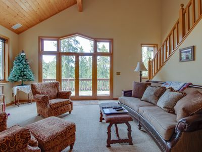 Photo for NEW LISTING! Forest view home with jetted tub - close to skiing & hiking