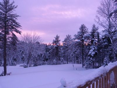 A purple sunset view from deck