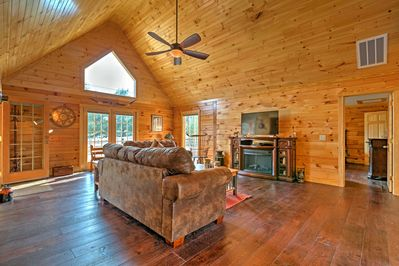 The vaulted ceilings open up the entire living area.