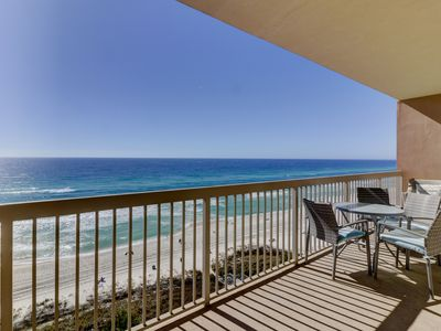 Photo for Tropical-themed 10th-floor condo w/ unparalleled Gulf front views! Gym on-site!