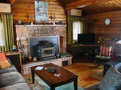 Photo for Beautifully Appointed, Cedar Log Cabin, Friendly Hosts!