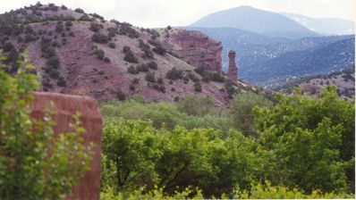View of Guardian Rock and mountains from patio.