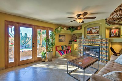 The home features Southwestern decor & sits just 2 miles to Old Town.