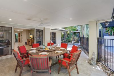 Enjoy a family BBQ in the privacy of the tropical garden