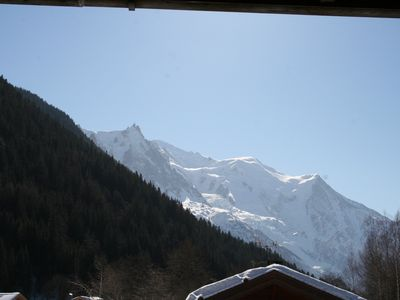 Photo for Apartment in quiet chalet facing Mont Blanc, near the Grands Montets.