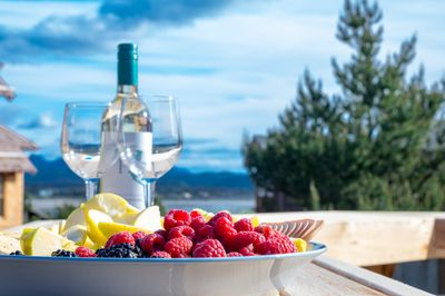 Fruit and wine with a view