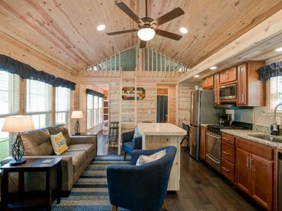 Photo for Tiny House - WIFI - Queen Bed(s) Private Bedrm. +  Loft - Views of Lake - Screened deck