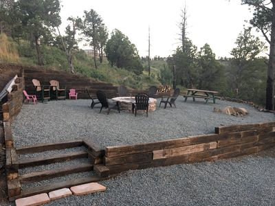 Play area has captain chairs, picnic table, outdoor games and plenty of seats