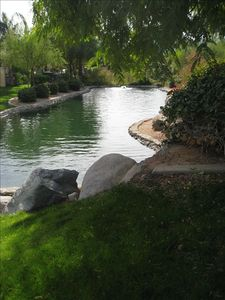 The water feature on the back side of the home.