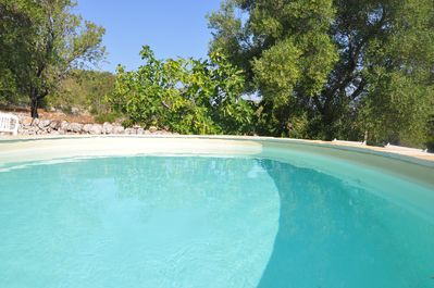 Non heated pool - pool area includes 4 loungers and chairs.