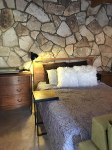 extra comfy queen bed, stately mix of Crate and Barrel and antique furnishings!