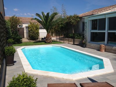Photo for Aigues-Mortes house near downtown, sleeps 6, garden, private pool.